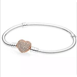 925Silver Pandora Rose Gold Heart Bangle